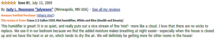 crane drop shape cool mist humidifier customer review 2